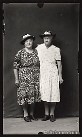 Two Elderly Ladies in Bonnets